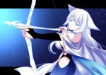 1girl animal_ears arrow bangs blue_eyes blunt_bangs bow_(weapon) breasts cleavage cloak closed_mouth dated drawing_bow eyebrows_visible_through_hair fox_ears fox_tail hip_vent konshin large_breasts long_hair looking_at_viewer pixiv_fantasia pixiv_fantasia_last_saga signature solo tail weapon white_hair