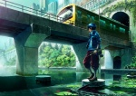 1boy blue_hair bridge cat fish fishing_rod ground_vehicle jacket lily_pad male_focus original oropi railing revision river sleeves_rolled_up solo standing train turtle