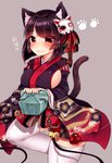 1girl absurdres animal_ears azur_lane bangs bell black_kimono blush breasts brown_background brown_hair cat_ears cat_girl cat_mask cat_tail chiitamu closed_mouth commentary_request eyebrows_visible_through_hair fang fang_out fingernails floral_print heart highres japanese_clothes jingle_bell kimono large_breasts long_sleeves mask mask_on_head obentou print_kimono red_eyes short_hair short_kimono sideboob simple_background smile solo tail thighhighs white_legwear wide_sleeves yamashiro_(azur_lane)