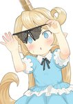 1girl :o black_panties blonde_hair blue_eyes blue_shirt blue_skirt blush charlotta_fenia commentary_request crotchless_panties frilled_shirt frills granblue_fantasy harvin holding holding_panties long_hair open_mouth panties pointy_ears puffy_short_sleeves puffy_sleeves shirt short_sleeves simple_background skirt solo sweatdrop underwear very_long_hair walkalone white_background