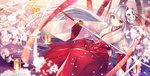 1girl >:) album_cover animal_ears bangs blurry blurry_foreground brown_kimono cherry_blossoms closed_mouth commentary_request cover depth_of_field eyebrows_visible_through_hair floating_hair floral_print flower fox_ears hair_between_eyes hakama holding holding_sword holding_weapon japanese_clothes kagachi_saku katana kimono lantern long_hair long_sleeves mask mask_on_head original print_kimono red_eyes red_hakama red_ribbon ribbon silver_hair smile solo sword v-shaped_eyebrows very_long_hair weapon white_flower wide_sleeves