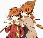 2boys \m/ al_(ahr) blue_eyes broom brothers brown_coat character_name coat double_\m/ fred_weasley george_weasley grin harry_potter highres multiple_boys one_eye_closed orange_hair red_coat scarf shared_scarf siblings smile twins younger