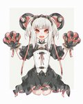 1girl bangs belt_buckle black_dress buckle claws dress fang gloves hair_ornament headgear heart highres iralion medium_hair open_mouth original paw_pose red_eyes simple_background solo standing tied_hair tongue white_background white_hair