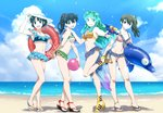4girls :o adjusting_clothes adjusting_hat alternate_hairstyle ball bangs beach beachball bikini bikini_skirt black_hair blue_bikini blue_eyes blue_nails blue_sarong blue_sky boots breasts brown_eyes brown_hair cloud cloudy_sky collarbone commentary_request creator_connection day eyebrows_visible_through_hair frilled_skirt frills front-tie_bikini front-tie_top green_bikini green_eyes green_hair green_neckwear grin hair_rings hat hat_ribbon hatorion high_heel_boots high_heels highres higurashi_kagome holding inflatable_dolphin inflatable_toy innertube inuyasha kyoukai_no_rinne layered_skirt leaning_forward leaning_to_the_side leg_up legs lens_flare light_particles long_hair looking_at_viewer lum mamiya_sakura medium_breasts microskirt multiple_girls nail_polish navel ocean oni_horns open_mouth open_toe_shoes outdoors p-chan parted_lips pig_print pink_bikini pink_nails pleated_skirt pointy_ears ponytail ranma_1/2 red_ribbon ribbon sailor_bikini sailor_collar sandals sarong shadow short_hair side-tie_bikini side_ponytail single_horizontal_stripe skindentation skirt sky small_breasts smile standing sun_hat super_soaker swimsuit takahashi_rumiko tendou_akane toenail_polish urusei_yatsura white_hair yellow_bikini yellow_footwear