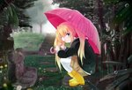 1girl black_jacket blonde_hair blue_eyes blurry blurry_background blush boots brown_shorts closed_mouth eyepatch from_side full_body holding holding_umbrella jacket legwear_under_shorts long_hair long_sleeves looking_at_viewer nakatsu_shizuru outdoors pantyhose pink_umbrella rain rewrite rubber_boots shorts smile solo squatting tagame_(tagamecat) twintails umbrella water_drop white_legwear yellow_footwear