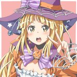 1girl :o bang_dream! bangs blonde_hair blush bow bowtie breasts bug cleavage hat hat_bow headset jack-o'-lantern long_hair long_sleeves looking_at_viewer pink_background print_hat purple_bow purple_neckwear riai_(onsen) silk simple_background solo spider spider_web star star_print striped striped_bow striped_neckwear tsurumaki_kokoro upper_body v witch_hat yellow_eyes
