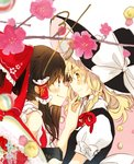 2girls bangs bare_shoulders black_hair black_headwear black_vest blonde_hair bow box brown_eyes candy commentary dated eye_contact eyebrows_visible_through_hair feeding flower food frilled_bow frilled_shirt_collar frills from_side hair_between_eyes hair_bow hair_ribbon hair_tubes hakurei_reimu hand_up hat hat_bow highres holding holding_box holding_food kirisame_marisa long_hair looking_at_another multiple_girls pink_background pink_flower poprication profile puffy_short_sleeves puffy_sleeves red_bow red_ribbon ribbon shirt short_sleeves sidelocks smile touhou two-tone_background upper_body vest white_background white_bow white_shirt witch_hat yellow_eyes yuri