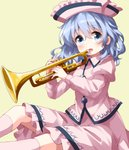 1girl blue_eyes commentary_request eyebrows_visible_through_hair hair_between_eyes hat highres instrument long_sleeves looking_at_viewer merlin_prismriver open_mouth pink_headwear pink_legwear pink_shirt ruu_(tksymkw) shirt short_hair silver_hair simple_background solo touhou trumpet yellow_background