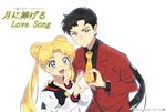 2girls :d androgynous aqua_eyes artist_name bangs bishoujo_senshi_sailor_moon black_hair blonde_hair double_bun english formal hand_on_another's_shoulder heart heart_hands heart_hands_duo long_hair low_ponytail multiple_girls necktie open_mouth parted_bangs petagon school_uniform seiya_kou serafuku smile suit tsukino_usagi twintails white_background