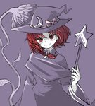 1girl bad_id bad_twitter_id braid capelet closed_mouth commentary_request copyright_request dress hair_ribbon hat holding kirisame_marisa kirisame_marisa_(pc-98) long_sleeves purple_background red_eyes red_hair ribbon sasa_kichi simple_background smile solo story_of_eastern_wonderland touhou touhou_(pc-98) tress_ribbon wand wide_sleeves witch_hat