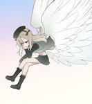 1girl angel_wings bangs beret black_footwear black_hat black_jacket black_ribbon black_skirt boots brown_eyes chin_rest closed_mouth commentary_request cross-laced_footwear crossed_legs dress_shirt from_side full_body girls_und_panzer grey_legwear hair_ribbon hat invisible_chair jacket knee_boots light_brown_hair light_frown long_hair long_sleeves military military_uniform miniskirt navel open_clothes open_jacket open_shirt pleated_skirt ribbon selection_university_military_uniform shimada_arisu shirt side_ponytail sitting skirt socks solo uniform wata_do_chinkuru white_shirt wind wings