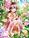1girl anklet blush bracelet flower hair_flower hair_ornament high_heels hydrangea japanese_clothes jewelry kimono long_hair nature necklace ozon purple_hair rain sandals sitting smile snail solo sparkle toes yellow_eyes