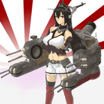 1girl black_hair breasts cannon cleavage crossed_arms elbow_gloves garter_straps gloves halterneck headgear highres kantai_collection large_breasts long_hair mecha_musume miniskirt nagato_(kantai_collection) red_eyes red_legwear san_(sinji-koro) skirt solo thighhighs