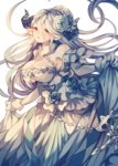 1girl bare_shoulders blush breasts cleavage collarbone commentary_request draph flower gloves granblue_fantasy hair_between_eyes hair_flower hair_ornament highres horns izmir large_breasts long_hair looking_at_viewer mole mole_under_mouth pointy_ears red_eyes skirt_hold solo white_gloves wiriam07