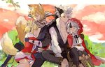 2boys 2girls animal_ears black_hair blonde_hair brown_hair closed_eyes closed_mouth commentary_request father_and_daughter fire_emblem fire_emblem_if flannel_(fire_emblem_if) fox_ears fox_tail from_side fur_trim gloves grass grey_hair hood hood_up hug japanese_clothes kinu_(fire_emblem_if) long_hair long_sleeves multicolored_hair multiple_boys multiple_girls nishiki_(fire_emblem_if) open_mouth pants parted_lips red_eyes sasaki_(dkenpisss) scarf short_hair signature sitting streaked_hair tail velour_(fire_emblem_if) wolf_ears