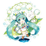 1girl :d absurdly_long_hair ahoge aqua_eyes aqua_hair blush boots bunny chibi flower hairband hatsune_miku leaf lily_of_the_valley long_hair looking_at_viewer nardack open_mouth sitting smile solo twintails very_long_hair vocaloid yuki_miku
