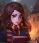 1girl artist_name blush book brown_eyes brown_hair christmas gryffindor harry_potter hermione_granger highres holding holding_book looking_at_viewer medium_hair necktie outdoors parted_lips scarf smile snowflakes snowing solo stellarism striped striped_neckwear striped_scarf
