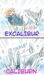 1girl 2boys 2koma blonde_hair caliburn carrying character_name comic covering_face directional_arrow english excalibur hands_on_own_face hood hoodie in_water lady_of_the_lake lake male_focus multiple_boys original pants personification rosel-d short_hair sparkle splashing touken_ranbu white_pants