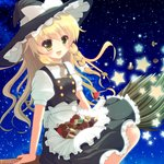 15_(tooka) 1girl blonde_hair bow braid broom broom_riding hat hat_bow kirisame_marisa long_hair mushroom side_braid skirt_basket solo star touhou witch_hat yellow_eyes
