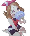 1girl ankea_(a-ramo-do) barboach bare_shoulders barefoot bike_shorts brown_hair collarbone covering_mouth fan gen_3_pokemon hairband hand_up haruka_(pokemon) highres holding looking_at_viewer paper_fan pokemon pokemon_(game) pokemon_oras purple_eyes red_hairband red_shirt shiny shiny_hair shirt short_shorts shorts simple_background sitting sleeveless sleeveless_shirt solo wariza white_background white_shorts