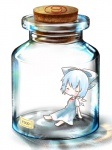 (9) 1girl bad_id bad_pixiv_id barefoot blue_hair blush bottle cirno closed_eyes cork dress glass hair_ribbon ice in_bottle in_container jar kuromame_(8gou) minigirl ribbon solo touhou wings