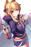 1girl akanagi_youto alternate_costume azur_lane bangs blonde_hair blue_hoodie blurry blurry_background casual commentary contemporary cowboy_shot cup disposable_cup drinking drinking_straw dutch_angle eyebrows_visible_through_hair flag_print hair_between_eyes hair_ornament highres holding holding_cup hood hoodie long_hair long_sleeves pantyhose pink_legwear pointy_hair print_hoodie purple_eyes sidelocks solo standing union_jack warspite_(azur_lane) wide_sleeves