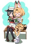 2girls :d ^_^ animal_ear_fluff animal_ears backpack bag bare_shoulders bench black_gloves black_hair black_legwear blonde_hair boots bow bowtie brown_footwear chopsticks closed_eyes commentary_request donbee_(food) eating elbow_gloves extra_ears food gloves hat hat_feather heart high-waist_skirt highres kaban_(kemono_friends) kemono_friends legwear_under_shorts multiple_girls nekonyan_(inaba31415) noodles open_mouth pantyhose print_gloves print_legwear print_neckwear print_skirt red_shirt serval_(kemono_friends) serval_ears serval_print serval_tail shirt shoes short_hair short_sleeves shorts sitting skirt sleeveless sleeveless_shirt smile tail thighhighs translated white_footwear white_shirt white_shorts