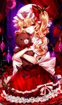 1girl absurdres artist_name blonde_hair blood bow bowtie bug butterfly crescent crystal curtains dress eyebrows_visible_through_hair flandre_scarlet flower frilled_dress frilled_shirt_collar frills hair_between_eyes hat hat_bow head_tilt highres holding holding_stuffed_animal insect mob_cap object_hug parted_lips petals puffy_short_sleeves puffy_sleeves red_bow red_dress red_eyes red_flower red_neckwear red_rose rose sheya short_hair short_sleeves side_ponytail signature solo stuffed_animal stuffed_toy teddy_bear touhou white_hat wings