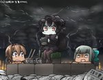 3girls :d ahoge black_hair blurry bow bowtie brick brown_hair chibi chou-10cm-hou-chan_(teruzuki's) cloud cloudy_sky commentary_request dated depth_of_field detached_sleeves enemy_aircraft_(kantai_collection) fire gothic_lolita hachimaki hair_bow hair_ribbon hairband hamu_koutarou headband holding horns isolated_island_oni kantai_collection lightning lolita_fashion lolita_hairband long_hair machinery multiple_girls open_mouth pantyhose peeking_out ponytail red_eyes ribbon shaded_face shinkaisei-kan short_hair silver_eyes silver_hair sitting sky smile sweat tan teruzuki_(kantai_collection) translated tribal turret white_skin yuubari_(kantai_collection)