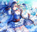 1girl absurdres adjusting_clothes adjusting_hat argyle arm_up bangs bare_shoulders belt beret blonde_hair blue_eyes blue_ribbon bow breasts building camisole cleavage closed_mouth cloud cloudy_sky coat collarbone commentary_request cucouroux_(granblue_fantasy) day floating_hair frilled_skirt frills granblue_fantasy green_bow hair_bow hair_ribbon hat highres layered_skirt leg_up long_hair long_sleeves looking_at_viewer medium_breasts miniskirt off_shoulder open_clothes open_coat outdoors ribbon shirt skirt sky smile solo suisen-21 thigh_strap twintails v-shaped_eyebrows white_coat white_hat white_shirt white_skirt wide_sleeves