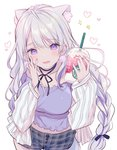1girl animal_ear_fluff animal_ears bangs black_ribbon blush breasts cleavage collarbone commentary_request cup disposable_cup drinking_straw ear_piercing earrings eyebrows_visible_through_hair fingernails grey_shorts hair_between_eyes hair_ribbon hand_on_own_face heart holding holding_cup jacket jewelry kurokuma_(kuro_kumagaya) large_breasts long_hair long_sleeves looking_at_viewer nail_polish neck_ribbon off_shoulder open_clothes open_jacket open_mouth original piercing pink_nails plaid plaid_shorts purple_eyes purple_shirt ribbon shirt short_shorts shorts silver_hair simple_background sleeves_past_wrists solo sparkle striped stud_earrings vertical-striped_jacket vertical_stripes very_long_hair wavy_mouth white_background white_jacket