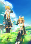1boy 1girl absurdres blonde_hair blue_eyes cloud day detached_sleeves grass headphones highres kagamine_len kagamine_len_(append) kagamine_rin kagamine_rin_(append) kamisakai messy_hair navel navel_cutout see-through short_hair siblings thighhighs twins vocaloid vocaloid_append