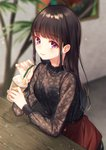 1girl bangs black_blouse black_hair blouse blurry blurry_background commentary_request cup elbows_on_table eyebrows_visible_through_hair frilled_shirt_collar frills highres holding holding_cup long_hair long_sleeves looking_at_viewer moyui_(myi_005) original purple_eyes red_skirt sitting skirt smile solo straw table wooden_table