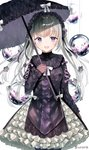 1girl :d black_dress black_legwear commentary cowboy_shot dress flower frilled_skirt frills glass gothic_lolita hairband high_collar holding holding_umbrella layered_dress lolita_fashion lolita_hairband long_hair looking_at_viewer open_mouth orb original pantyhose purple_eyes sakipsakip silver_hair simple_background skirt smile solo standing string too_many too_many_frills twitter_username two_side_up umbrella white_background
