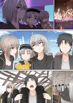 2boys 2girls amusement_park artoria_pendragon_(all) black_hair commentary disneyland eating fate/grand_order fate_(series) father_and_son fujimaru_ritsuka_(male) ginhaha hat jeanne_d'arc_(alter)_(fate) jeanne_d'arc_(fate)_(all) mother_and_son multiple_boys multiple_girls ponytail saber_alter short_hair silver_hair smile yellow_eyes