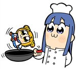 2girls :3 arm_behind_back bangs bkub blue_eyes blue_hair blue_sailor_collar blue_skirt blush chef_hat chef_uniform commentary eyebrows_visible_through_hair hair_ornament hair_scrunchie hat holding light_blush motion_lines multiple_girls neckerchief orange_hair pipimi poptepipic popuko red_neckwear sailor_collar school_uniform scrunchie serafuku shirt shoes short_twintails sidelocks simple_background skirt twintails two_side_up white_background white_shirt yellow_eyes yellow_scrunchie