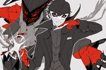 1boy amamiya_ren arsene_(persona_5) black_hair card chain gloves hat highres kinagi_(3307377) looking_at_viewer male_focus mask monochrome persona persona_5 red_eyes red_gloves short_hair smile solo super_smash_bros. top_hat weapon wings