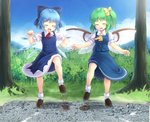2girls blue_bow blue_hair bow cirno city closed_eyes daiyousei destruction fang green_hair hair_bow ice ice_wings komimiyako loafers miniature multiple_girls open_mouth shoes size_difference socks stomping touhou wings yellow_bow