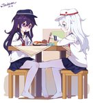 2girls akatsuki_(kantai_collection) bangs blue_eyes blue_headwear blue_sailor_collar blue_skirt blush chair chopsticks closed_mouth commentary dated eyebrows_visible_through_hair female_footjob flat_cap food hair_between_eyes hat hibiki_(kantai_collection) highres holding holding_chopsticks kantai_collection long_hair multiple_girls neckerchief no_shoes nose_blush on_chair pantyhose pleated_skirt purple_eyes purple_hair red_neckwear red_star sailor_collar school_uniform serafuku shirt signature silver_hair sitting skirt smile star sushi sweat table tsubasa_tsubasa verniy_(kantai_collection) very_long_hair white_headwear white_legwear white_shirt yuri