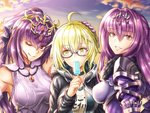 3girls ;) ahoge artoria_pendragon_(all) black-framed_eyewear blonde_hair blue_sky bow breasts brown_eyes cloud day diadem donkikong_(pixiv17278003) dress eyebrows_visible_through_hair fate/grand_order fate_(series) floating_hair food glasses gloves grin hair_between_eyes hair_bow hand_on_another's_head head_tilt holding holding_food ice_cream long_hair looking_at_viewer looking_to_the_side medium_breasts multiple_girls mysterious_heroine_x_(alter) one_eye_closed outdoors purple_dress purple_gloves purple_hair scathach_(fate)_(all) scathach_(fate/grand_order) semi-rimless_eyewear shiny shiny_hair short_hair shoulder_armor sky sleeveless smile spaulders under-rim_eyewear upper_body white_bow yellow_eyes