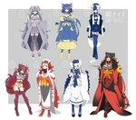 6+girls :3 :d alternate_color animal_ears aqua_eyes bell bell_collar belt belt_buckle black_belt black_collar black_hair black_legwear black_panties blue_gloves blue_hair blue_legwear blue_sailor_collar blue_skirt boots bow breasts buckle buttons cat_cutout cat_ears cat_girl cat_tail claw_pose cleavage cleavage_cutout closed_mouth coat collar collarbone commentary_request cross-laced_footwear crossed_bangs crossed_legs elbow_gloves espurr eyebrows eyebrows_visible_through_hair eyeliner fang fingerless_gloves fingernails frown fur_collar garter_straps gen_5_pokemon gen_6_pokemon gen_7_pokemon geta gloves green_eyes grey_hair grey_legwear grey_skirt hair_bell hair_between_eyes hair_bow hair_ornament hakama hakama_skirt hand_up hands_up high-waist_skirt high_heel_boots high_heels highres hime_(ohime_pkg) holding holding_pipe horizontal-striped_legwear horizontal_stripes incineroar interlocked_fingers jacket_on_shoulders japanese_clothes jingle_bell kimono kiseru lace-up_boots large_breasts legs_apart litten long_hair long_sleeves makeup meowstic miniskirt multicolored multicolored_clothes multicolored_footwear multicolored_gloves multicolored_hair multicolored_legwear multiple_girls nail_polish number open_clothes open_coat open_mouth panties partially_translated personification pink_bow pipe pleated_skirt pokemon purrloin red_bow red_eyes red_footwear red_gloves red_hair red_legwear red_nails revealing_clothes sailor_collar shiny_pokemon shirt skirt sleeves_past_fingers smile speech_bubble standing striped striped_gloves striped_tail tabi tail tail_raised thigh_strap thighhighs tiger_ears tiger_tail tongue translation_request two-tone_gloves two-tone_hair two-tone_legwear unbuttoned underwear v_arms very_long_hair watson_cross white_belt white_bow white_coat white_footwear white_gloves white_hair white_hakama white_shirt white_skirt wide_sleeves yellow_eyes yellow_footwear yellow_sclera zettai_ryouiki