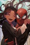 """1boy 1girl bangs bodysuit breasts brown_hair check_character commentary dark_skin happy highres holding holding_another long_hair looking_at_viewer mask michelle_""""mj""""_jones one_eye_closed parted_bangs peach_luo smile spider-man spider-man:_far_from_home spider-man_(series) superhero upper_teeth"""