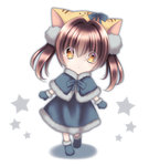 1girl :3 animal_ears brown_eyes brown_hair cat_ears chibi di_gi_charat hair_ribbon looking_at_viewer mittens pow_(ameri) puchiko ribbon solo star twintails