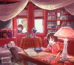 1boy 2girls artist_name bed black_hair blinds blonde_hair book book_stack bookshelf brown_hair chair curtains desk dog envelope flower incense incense_burner inkwell inside kukuri lamp letter mahoujin_guruguru mattress multiple_girls nike_(mahoujin_guruguru) open_book photo_(object) poodle quill runrun_vermeer rureko_(torimura) scarf short_hair sitting smile smoke spoon table tablecloth vase window
