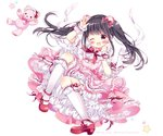1girl ;d animal_ears arm_up bangs bear_ears black_eyes black_hair bloomers blush bow bowtie character_name commentary_request dress frilled_dress frilled_legwear frilled_sleeves frills full_body hair_bow hand_up kneehighs knees_up layered_dress lolita_fashion long_hair looking_at_viewer one_eye_closed open_mouth petticoat pinafore_dress pink_dress puffy_short_sleeves puffy_sleeves puu_(kari---ume) real_life red_bow red_footwear ribbon-trimmed_legwear ribbon-trimmed_sleeves ribbon_trim shoe_bow shoes short_sleeves sidelocks simple_background smile solo star stuffed_animal stuffed_toy sweet_lolita takenaka_nozomi teddy_bear twintails twitter_username typo underwear white_background white_legwear wrist_cuffs