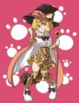 1girl :d animal_ears animal_print bangs black_bow black_hat black_neckwear blonde_hair bow bowtie cape center_frills elbow_gloves eyebrows_visible_through_hair full_body fur_collar gloves hair_between_eyes hand_up hat high-waist_skirt highres holding holding_staff jaguar_(kemono_friends) jaguar_ears jaguar_print jaguar_tail jamir kemono_friends legs_apart looking_at_viewer open_mouth paw_print pigeon-toed pink_background shirt shoes short_hair short_sleeves skirt smile solo staff tail thighhighs v-shaped_eyebrows white_footwear white_shirt yellow_eyes