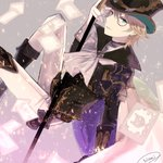 1boy adjusting_clothes adjusting_hat artist_name blonde_hair blue_eyes cane cape card cravat granblue_fantasy hat highres jewelry kaitou_chat_noir looking_at_viewer male_focus monocle nisei_(tanny) single_earring smile solo