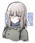 1girl bangs blush casual closed_mouth commentary cropped_torso dated eyebrows_visible_through_hair girls_und_panzer grey_coat grey_shirt highres itsumi_erika long_hair looking_at_viewer outline portrait shichisaburo shirt smile solo turtleneck white_background white_outline