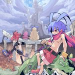 1boy 2girls antenna_hair belt black_legwear black_skirt blonde_hair blue_hair bracelet castle demon_girl disgaea dragon_(disgaea) earrings etna flonne gloves jewelry laharl long_hair makai_senki_disgaea multiple_girls pointy_ears polearm prinny red_eyes red_hair scarf shirtless shoes short_hair shorts sitting skirt spear sutores741 thighhighs weapon wings