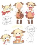 1girl :3 :d >_< ^_^ animal_ears bag baking_sheet blonde_hair boots closed_eyes commentary_request croissant dog_ears dog_tail dress dress_shirt eating expressions food giving happy highres long_sleeves mittens naked_shirt open_mouth original oven_mitts pinafore_dress pink_eyes sasa_kichi scared scarf shirt short_hair shoulder_bag smile sweat tail